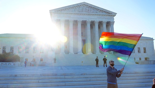 TWO FLAG supreme court gay ruling by Ted Eylan Flickr Creative Commons