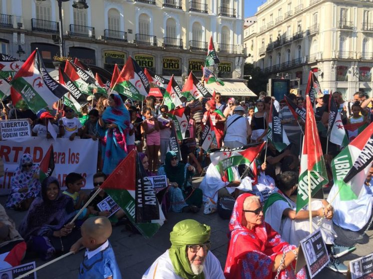 WEST SAHARANS DEMONSTRATE AGAINST MOROCCO IN SPAIN