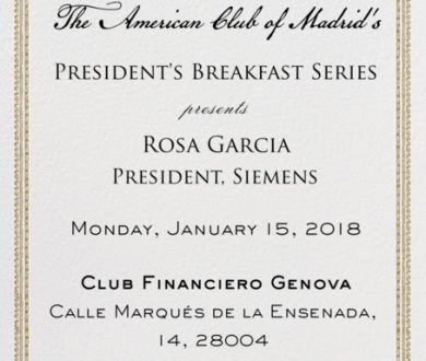AMERICAN CLUB OF MADRID'S INVITATION TO THEIR PRESIDENT'S SEMINAR ON 15 JANUARY 2018