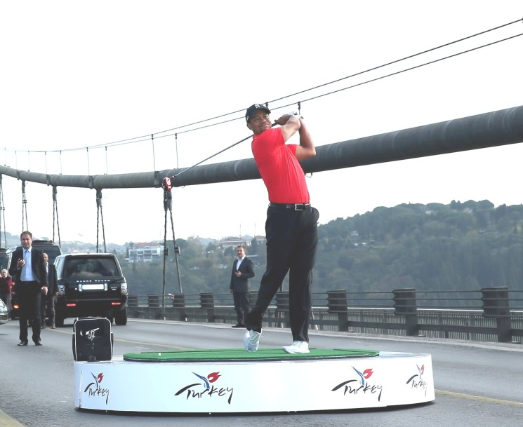 THE TIGER'S TEE SHOT SPANNED EUROPE AND ASIA